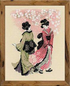 """Набор для вышивания крестом № 1508 """"Вишни в цвету"""", 24*30 см. Художник Юлия Красавина.  В набор входит: мулине Achor (15 цветов), канва 15 Aida Zweigart цветная, игла, цветная схема.  #RIOLIS #crossstitch #needlework #embroidery #beautiful #japan #flower #spring #girl #РИОЛИС #вышивкакрестом #гравюра #цветы #весна"""