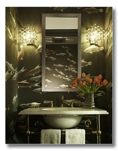How cool is this wallpaper in this powder room?!!