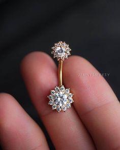 Anneau de ventre CZ anneau de nombril fleur ventre par JennySweety