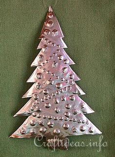 Embossed Metal Christmas Tree - Christmas Tree Ornament