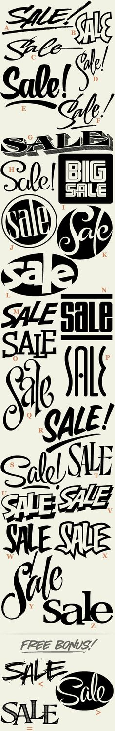 "LHF Sales™, 36 (plus 3 bonus) different versions of the word ""sale"" packed into one font. Perfect for creating quick signs and designs."