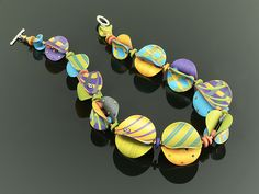 Wings Necklace Round in Multi Mix by Arden Bardol: Polymer Clay Necklace available at www.artfulhome.com