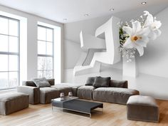 Top 50 Contemporary Wallpaper Ideas with Images - Home Decor Ideas UK 3d Wallpaper For Walls, Photo Wallpaper, Wallpaper Ideas, Floor Design, Wall Design, Patio Furniture Cushions, Contemporary Wallpaper, Image House, Living Room Decor