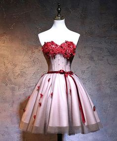 Burgundy tulle short flower top homecoming dresses, mini party dress from Sweetheart Dress Short Red Prom Dresses, Red Lace Prom Dress, Cute Prom Dresses, Short Prom, Homecoming Dresses, Pretty Dresses, Bridal Dresses, Beautiful Dresses, Pageant Dresses