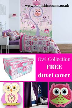 Owl Themed Bedroom Collection - Starter Pack Consists of 6 items - This starter pack consists of 6 items: Owl single duvet by Catherine Lansfield, Purple Pencil Pleat Curtains, Owl Wallpaper Feature Wall by Catherine Lansfield, Pink Rug, Pink Owl Clock, Vintage Patchwork Storage Box. £136 - special offer £122 Pink Bedroom For Girls, Pink Bedrooms, Cot Bed Duvet Cover, Duvet Covers, Bedroom Themes, Bedroom Ideas, Owl Clock, Owl Wallpaper, Childrens Bedroom