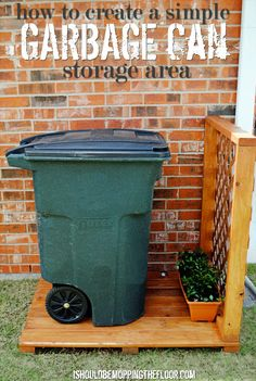 Get your garage organized & move your garbage can outside to its own spot! Simple tutorial to create a Garbage Can Storage Area from ishouldbemoppingthefloor.com.
