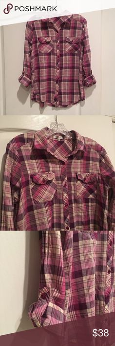 KUT from the Kloth Purple Pink Plaid Shirt Soft light weight material. Size M. Roll cuff sleeves Kut from the Kloth Tops Button Down Shirts