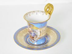 Antique Dresden Demitasse Porcelain Cup & Saucer - Courting Couple
