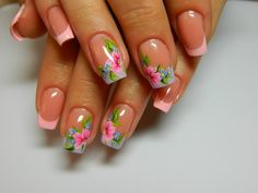 Charming French nails with flowers are combination of pink, blue and green – color of springtime. This design effectively hides . Flower Nail Designs, Pretty Nail Designs, Best Nail Art Designs, Great Nails, Simple Nails, Nail Art Design Gallery, Cute Spring Nails, Manicure E Pedicure, Super Nails