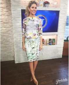 Friday, March 6th | Dina's outfit included: TED BAKER LONDON Window Blossom Top$255.00 Crystal Droplets Pencil Skirt $220.00 HUDSON'S BAY Yellow Stone Earrings $40.00 OR Mint Earrings $12.00 Silver Bracelet $15.00 Arrow Head Necklace $16.00 Stone Ring $12.00 STUART WEITZMAN Nude Pumps $398.00 (Last Season)