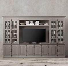 French Casement Media System- French Casement Media System RH& French Casement Media System:Panel doors and fine crown molding give our solid wood collection the gravitas of classic French furniture. Tv Built In, Bookshelves Built In, Bookcase, Living Room Built Ins, Living Room Tv, Basement Built Ins, Interior Paint Colors For Living Room, Living Room Entertainment Center, Muebles Living