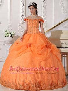 Orange Ball Gown Off The Shoulder Floor-length Taffeta and Organza Appliques and Hand Made Flowers Quinceanera Dress