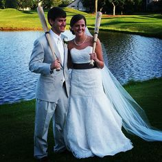 Bride and groom! Groom has played baseball his entire life! So cute! My brother(: