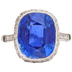 Antique Natural Burmese Sapphire and Diamond Ring