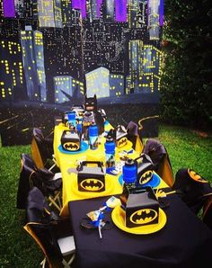 Cool backdrop at a Lego Batman birthday party! See more party ideas at CatchMyParty.com!