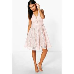 Boohoo Boutique Zoe All Over Lace Midi Skater Dress ($60) ❤ liked on Polyvore featuring dresses, pink, bodycon midi dress, white tuxedo, white lace cocktail dress, white sequin cocktail dress and pink maxi dress