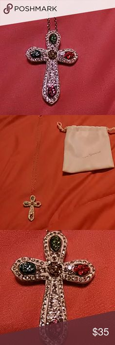 Stunning Silver gemstone Cross Stunning Cross with gemstones and lots of  bling Jewelry Necklaces