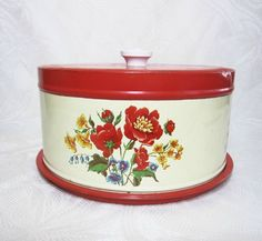 Vintage Cake Cupcake Carrier Metal Red Floral Decal Tray Mid Century PeachyChicBoutique on Etsy
