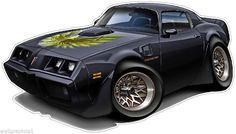1979 Pontiac T/A Trans Am Muscle Car Cartoon