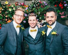 LV MADE IN ENGLAND (@lvmadeinengland) on Instagram: It's always exciting seeing our bow ties in action! Here's Ricky and his best men in our Arthur pre tied mustard cotton flannel bow ties.