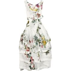 Vivienne Westwood Gold Label Fiona tiered organza rose-print dress (9.470 BRL) ❤ liked on Polyvore featuring dresses, gowns, vestidos, haljine, women, white sleeveless dress, transparent dress, tiered organza ball gown, white sheer dress and white full skirt