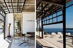 love the use of garage doors to open this beach house to the outdoors (south african home of photographer jean-marc lederman) Used Garage Doors, Sliding Garage Doors, Glass Garage Door, Overhead Garage Door, Garage Door Design, Glass Doors, Hollow Metal Doors, South African Homes, Garage Door Insulation