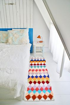 A colorful crochet harlequin rug from Wood Wool & Stool. via @Jonathan Nafarrete Nafarrete Nafarrete London Sheepish Girl