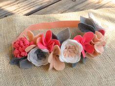 Felt Flower Crown // Coral  Grey // Garden by fancyfreefinery, $23.50