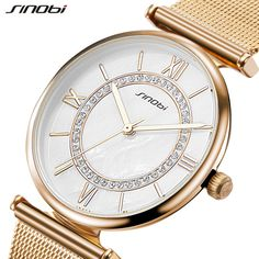 SINOBI Women's Watches Stainless Steel Mesh Belt Golden Fashion Wristwatch With Rhinestone Quartz Female Clock Bracelet Reloje