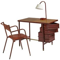 Jacques Adnet Desk with pivoting drawers, matching desk chair and lamp