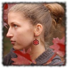 Red lace circle earrings delicate and feminine for by Naryajewelry, $12.00