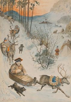 by Jenny Nyström (Samer med sina renar i norra Sverige) Christmas Art, Vintage Christmas, Norway Christmas, Illustrations, Illustration Art, Lappland, Magazines For Kids, Samar, Anime Comics