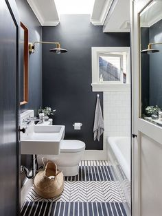 42 Gorgeous Black And White Subway Tiles Bathroom Design Bathroom Tile Designs, Bathroom Floor Tiles, Bathroom Colors, Bathroom Interior Design, Bathroom Ideas, Bathroom Makeovers, Bathroom Towels, Bathroom Storage, Bathroom Bin