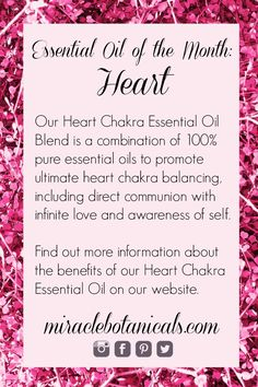 February Essential Oil of the Month: Heart Our Heart Chakra Essential Oil Blend is a combination of 100% pure essential oils to promote ultimate heart chakra balancing, including direct communion with infinite love and awareness of self.