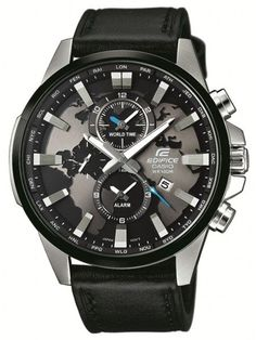 Buy Casio Edifice Analog Black Dial Black Leather Men's Watch in Doha, Qatar at Great Prices - JadoPado Iwc Watches, Fossil Watches For Men, Vintage Watches For Men, Luxury Watches For Men, Cool Watches, Black Watches, Wrist Watches, Relogio Casio Edifice, Men's Accessories