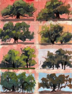Preparing for the tree workshop by Linda Blondheim Landscape Artwork, Abstract Landscape, Painting Lessons, Art Lessons, Watercolor Trees, Watercolor Paintings, Nature Sketch, Artist Sketchbook, Guache
