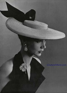 Straw hat, Legroux Souers, Paris, spring of 1952. via Couture Allure. Very 18th century style!