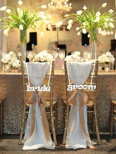 """Sale Bride and Groom Chair Sign. Wedding Reception Chair Signs Set Wedding Signs - Please Send your phone number in the """"NOTE to the seller"""" Tulip Wedding, Mod Wedding, Wedding Flowers, Dream Wedding, Wedding Day, Perfect Wedding, Trendy Wedding, Glitter Wedding, Glamorous Wedding"""