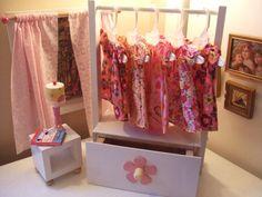 Doll Wardrobe Clothes Rack w Storage Drawer - for 18 inch American Girl Doll - 5 Hangers - Wooden White Storage Shed Organization, Kid Toy Storage, Craft Storage, Storage Drawers, Doll Storage, Clothes Storage, Kitchen Storage, Doll Closet, Doll Wardrobe