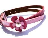 Boo-ka's flowers for the wedding!  Swirl Leather Dog Collar in Hot Pink and Light Blue. $24.99, via Etsy.
