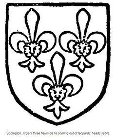 Blount of Sodington: argent three leopard's heads azure jessants-de-lis or.