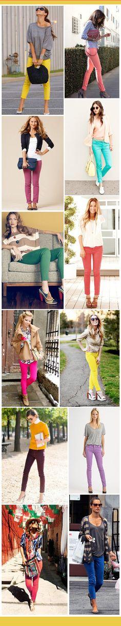 Renkli jeanler