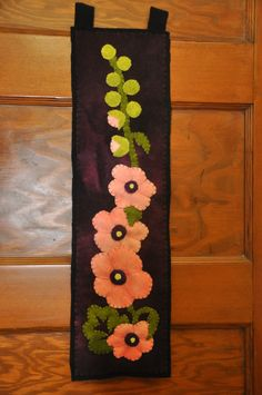 Handstitched Hollyhock Wool Applique...love the hollyhock! Reminds me of Grandma C.