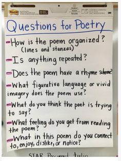 These are all questions to introduce to students before reading a poem or a verse novel. The questions could be displayed at the front of the room for students to refer to throughout, or they could write the questions on their own paper to answer as they read.