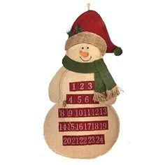 Snowman Wearing Scarf Burlap Christmas Countdown Advent Calendar -- This is an Amazon Affiliate link. For more information, visit image link.