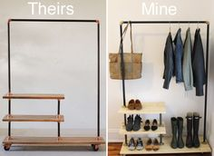 DIY Pipe Open Wardrobe - would good for my dress clothes/shoes