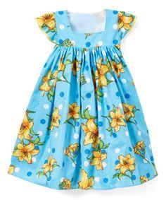 Blue Dot Daffodil Angel-Sleeve Dress - Infant, Toddler & Girls #zulily #zulilyfinds