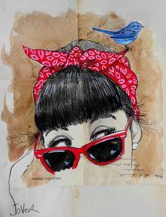 "Loui Jover; Drawing, ""red bandana"""