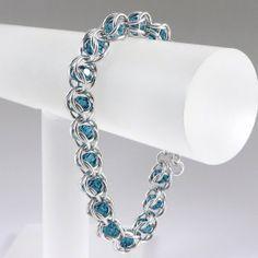 Chainmail Bracelet Indicolite Swarovski Crystal by HCJewelrybyRose on Etsy