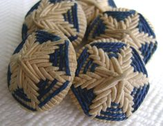 2 Antique Victorian Vintage Buttons - French Soutache Hand Embroidered in Blue and Cream